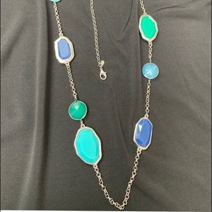 Jewelry - Long turquoise green silver toned necklace